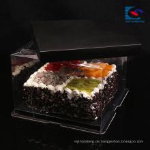 Luxus maßgeschneiderte Größe schwarz Kunst Papier Kuchen Box mit Griff