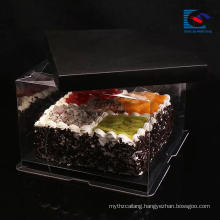 Luxury customized size black art paper cake box wtih handle