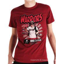 Rote Farbe Siebdruck Mode Benutzerdefinierte Großhandel Baumwolle Männer T-Shirt