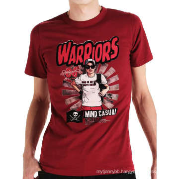 Red Color Screen Printing Fashion Custom Wholesale Cotton Men T Shirt