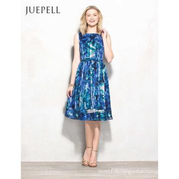 Blaues Blumenkleid für Frauen