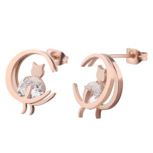 Latest Rose Gold Double Moon CZ Stone Cat Carried Stainless Steel Women Earring Studs Wholesale