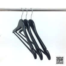 Black Wooden Hospitality Clothes Hanger for Hotel Coat Storage