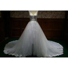 Chic Organza V cuello Appliqued Beaded Lace vestido de novia vestido de novia con banda de cinta BYB-14508