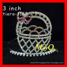 Colored Halloween pageant crown for sale,cute basket custom made tiara, doll crown