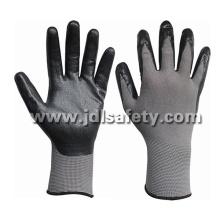 Nylon gris tricoté travail gants avec mousse respirante noire Nitrile enduction (N1566BRF)