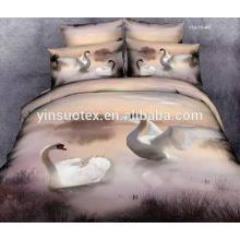 Swan et tournesol polyester polyester Housse d'oreiller 3D et draps de lit