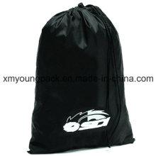 Personalisierte große schwarze Nylon Drawstring Wäschebeutel