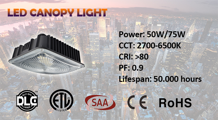 50W Led Gas Station Canopy Lights