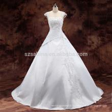 2017 satins plis perles casquette manche robe de mariée robe de mariage avec de vraies images