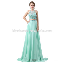 2018 OEM design new fashion sleeveless beaded laced green color chiffon floor touching evening dress