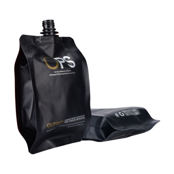 Customize Logo Printing Matt Black Plastic Stand up Bag with Spout Pouch for Juice Wine Beverage Packaging Pouch