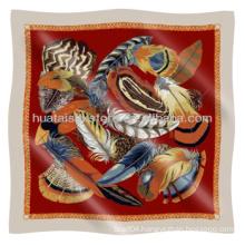 Silk Scarf Feather Pattern 100% Twill Square Silk Scarf