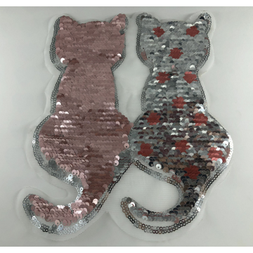 Merah Muda Silver Reversible Cat Sequin Patch
