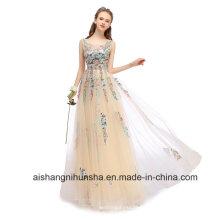 Spitze-Stickerei-langes Abend-Kleid-elegante Sleeveless Abschlussball-Partei-Kleider