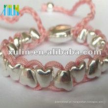 Pulseira de prata com contas de amizade artesanal em shamballa XLSBL076