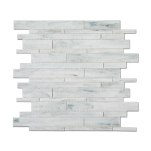 White Stained Glass Strip Irregular Mosaic Tile Kitchen Wall Tiles