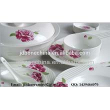 No color blanco cremoso repujado hueso china cerámica utensilios de cocina restaurante al por mayor
