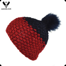 Moda de hilo grueso mano Hat Knit con pelota de piel