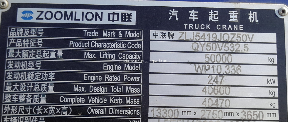 Nameplate of Zoomlion 50T Crane Truck With Weichai WP10.336 Engine