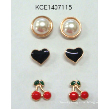Lovely Set Pearl, Heart Shaped and Cherry Earrings