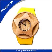100% natürliche Holz Leder Schweizer Uhr mit benutzerdefinierten Logo