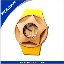 Relógio suíço de couro de madeira natural de 100% com logotipo personalizado