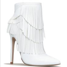 2020 Custom Women Tassel Boots  Winter Genuine White  Leather Ankle Luxury Winter Boots Women Heels  for Ladies