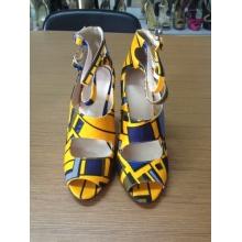 Africano impreso tela peep toe sandalia zapatos (HCY02-1516)