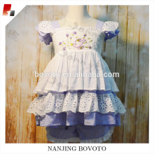 Hot sale children lavender embroidered clothing sets