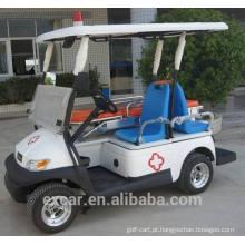 Tipo elétrico do combustível e carro da ambulância de 2 assentos com o carro de golfe funcional da cama para a venda