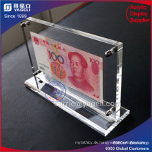 Großhandel 2 Seite klar Acryl Banknote Rahmen