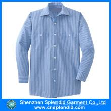 Camisa listrada confortável dos homens do algodão da qualidade superior por atacado