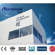 Alunewall certifié ignifuge ACP 3mm 0.21mm brillant composite en aluminium blanc