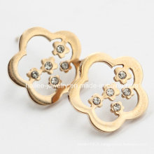 Boucles d'oreille à fleurs en acier inoxydable avec pierres