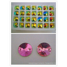 Crystal Round Sew on Glass Stone Bead with Hole (DZ-3041)