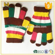 Gants en tricot en acrylique multicolore en gros pour filles et garçons