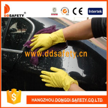 Yellow Household Latex Glove Flock Lined Diamond Grip DHL303