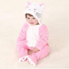 Vêtements pour bébés, 100% Polyester en forme de molleton Romper / Cat and Mouse