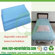 Folhas de cama não tecidas azuis médicas do hospital