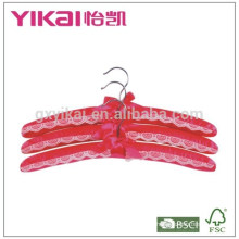 Set of 3pcs deep red satin padded hanger with lace decorated