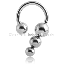 Surgical Steel Circular Barbell with Ball&Pyramid
