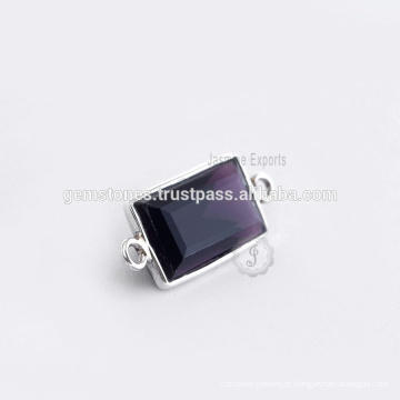 Venda Por Atacado 925 Sterling Silver Amethyst Quartz Bezel Gemstone Connector, Handmade Gemstone Bezel Jewelry Suppliers