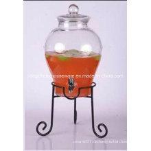 5.6L Großes klares Kegel-Glasglas und Glasdeckel mit / ohne Metallstand-Klipp-Glas mit Hahn