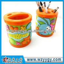 desenhos animados pote escova plástica de pvc com molde na mão