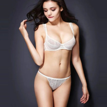 In-stock transparent sexy lace underwire bra bikini set