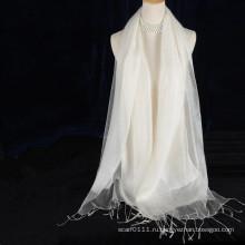 двойной слой кисточки белый шелковый шарф сплошной цвет с хлопком