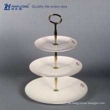 Heißer Verkauf feiner Knochenporzellan-Fruchtteller / Porzellan drei gestufte Platte / keramische weiße runde mehrschichtige Platten