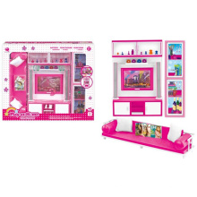 Plastic Pretend Play Set Dolls House Set con luz