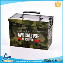 customized camouflage printed tin box with lock & handle